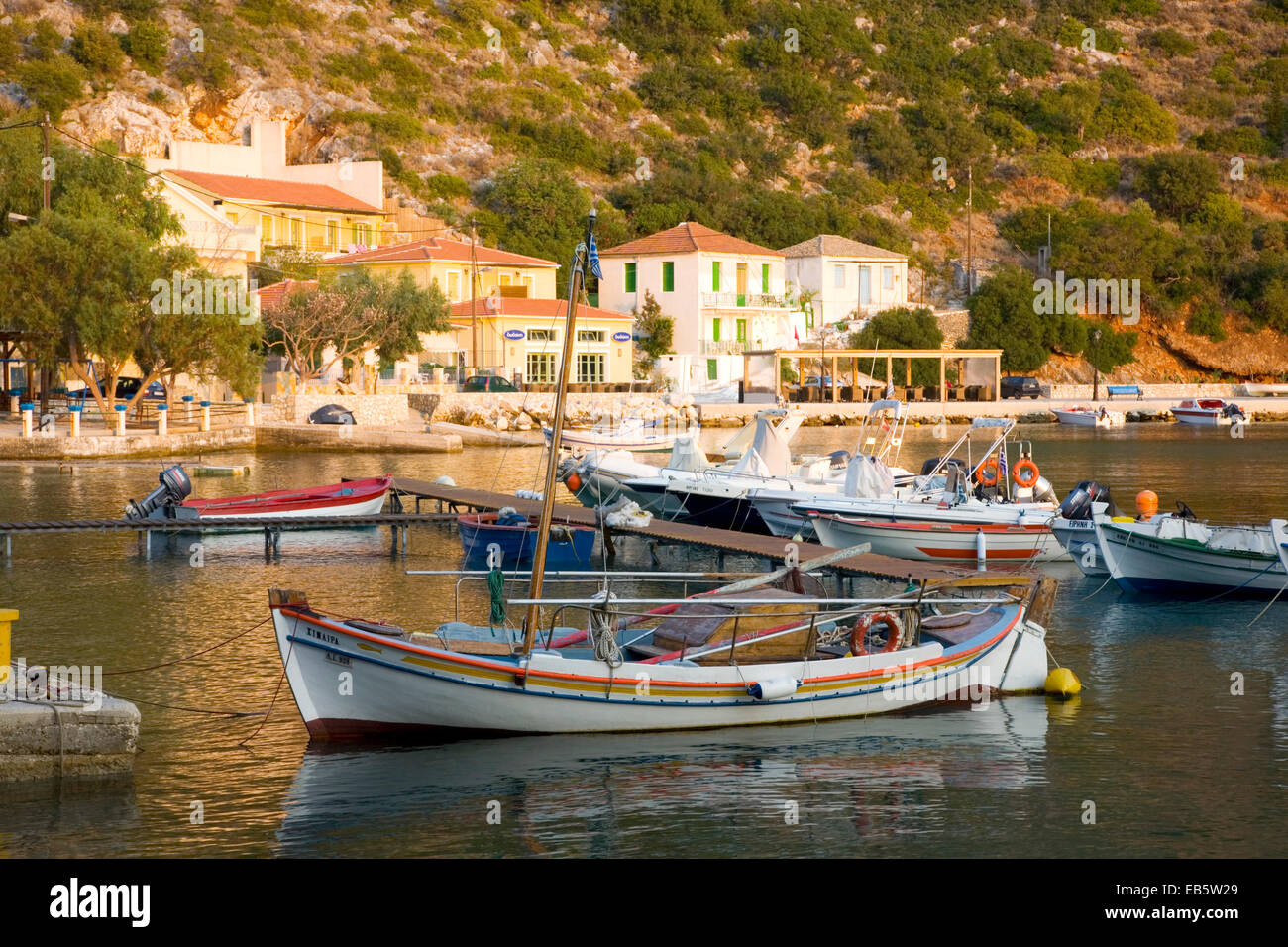 Frikes, Ithaca, Ionian Islands, Greece. View across the harbour at sunrise. - Stock Image