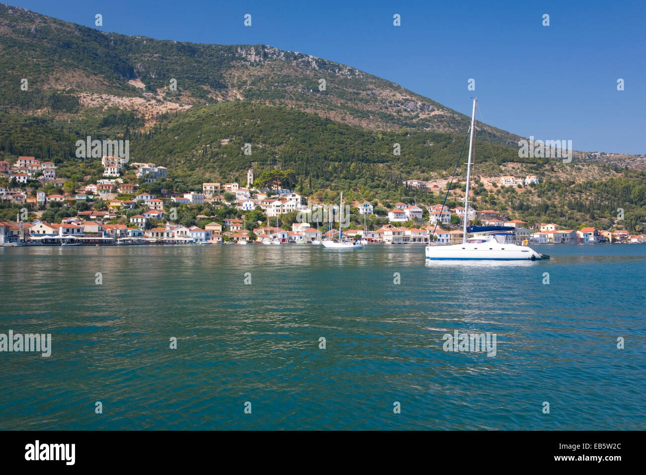 Vathy, Ithaca, Ionian Islands, Greece. View across the sheltered harbour. - Stock Image