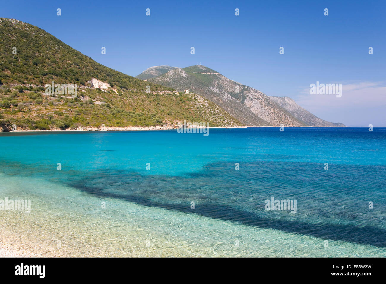 Vathy, Ithaca, Ionian Islands, Greece. View northwards across the clear turquoise waters of the Gulf of Molos. - Stock Image