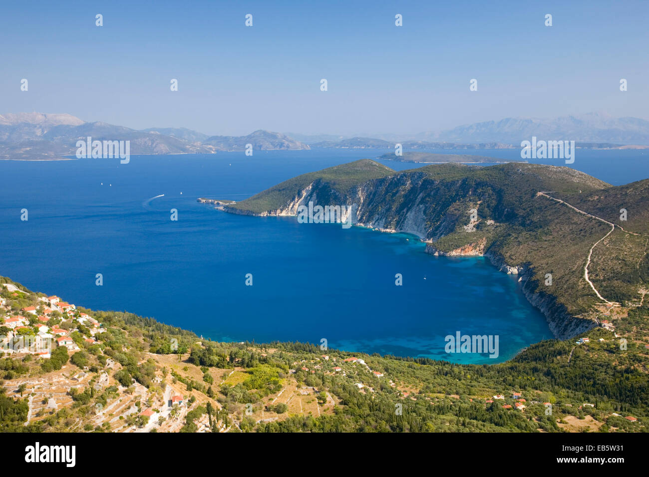 Exogi, Ithaca, Ionian Islands, Greece. View from hillside over the deep blue waters of Afales Bay to the distant - Stock Image