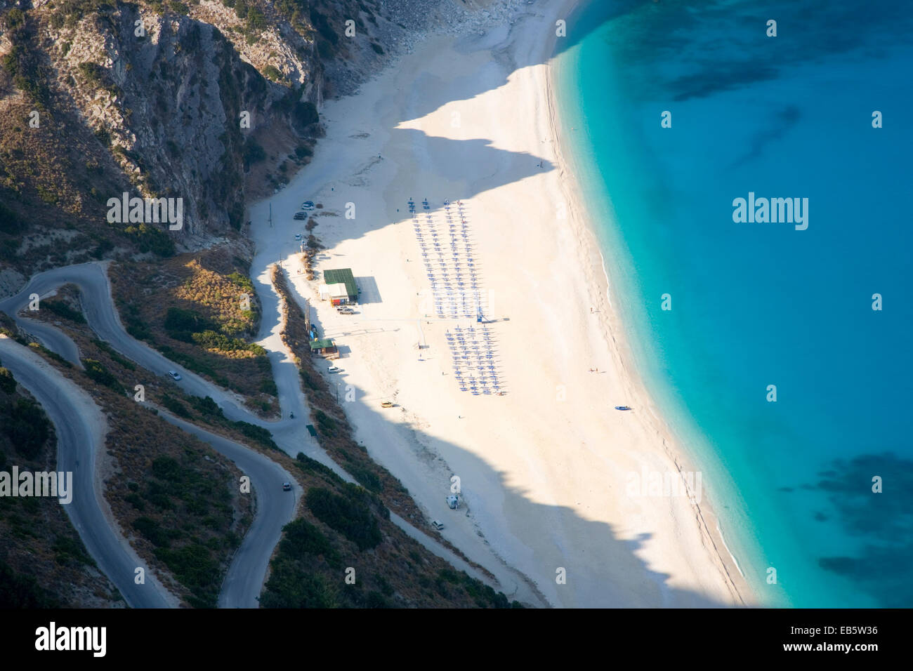 Divarata, Kefalonia, Ionian Islands, Greece. Bird's eye view of Myrtos Beach and its spectacular switchback - Stock Image