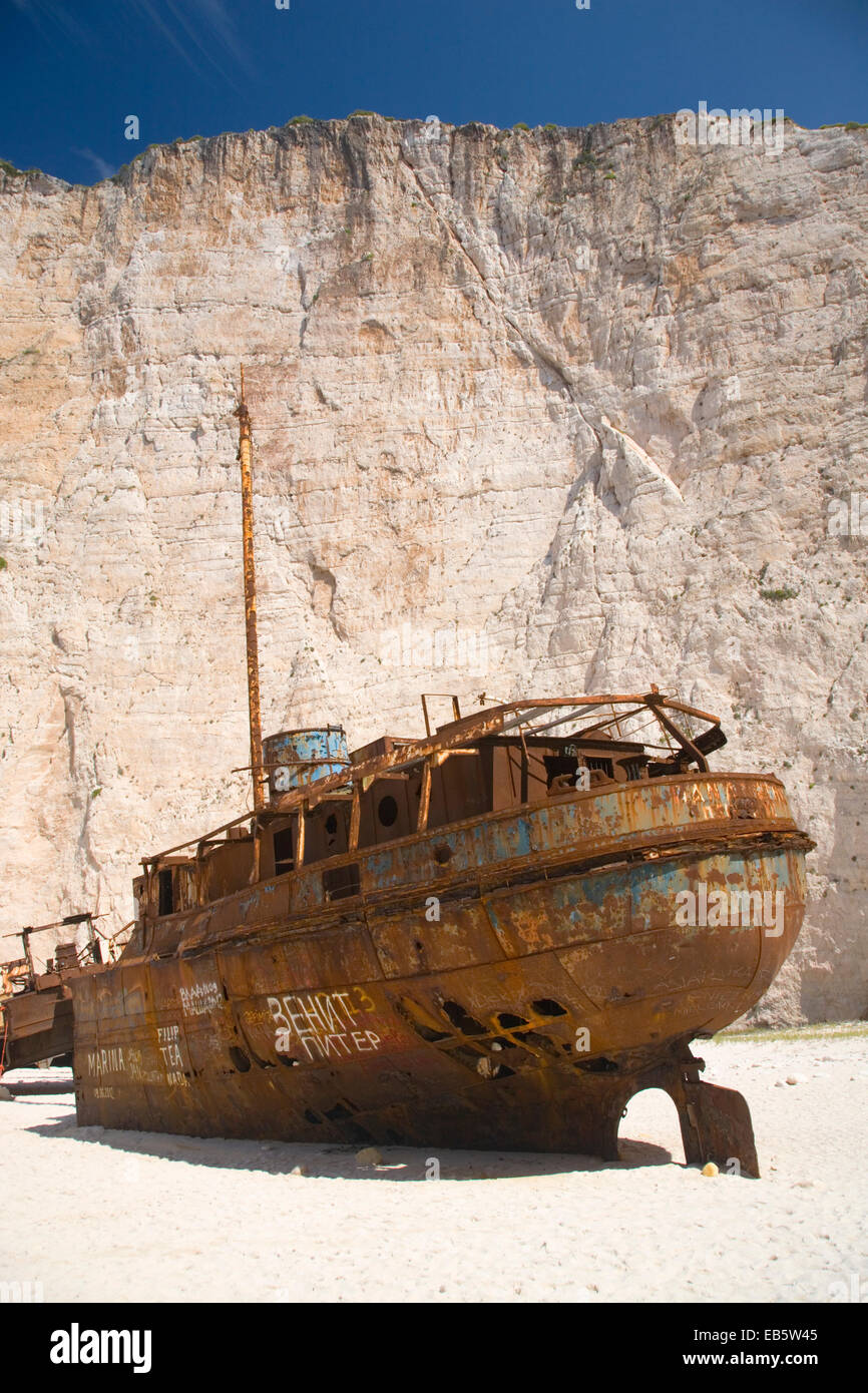 Anafonitria, Zakynthos, Ionian Islands, Greece. Rusting wreck of the smuggler ship Panagiotis on Navagio Beach. - Stock Image