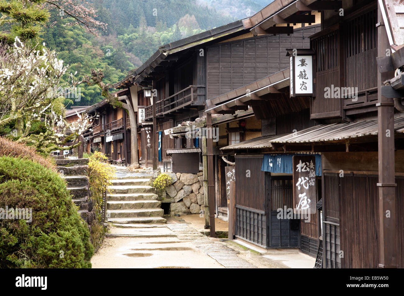 Tsumago, Japan. Street of Terashita, remains of Masu-shape and houses along Nakasendo Road. HDR - Stock Image