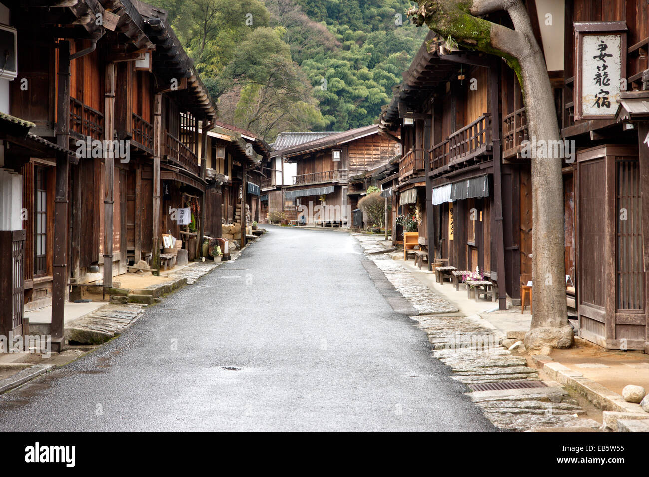 Tsumago, Japan. Street of Terashita, view along street with traditional inns and shops on both sides. Overcast weather. - Stock Image