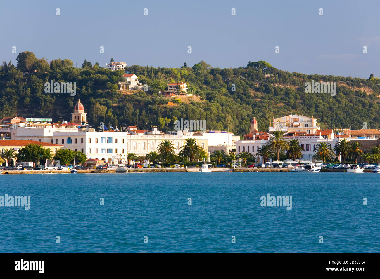 Zakynthos Town, Zakynthos, Ionian Islands, Greece. View across harbour to the waterfront. Stock Photo