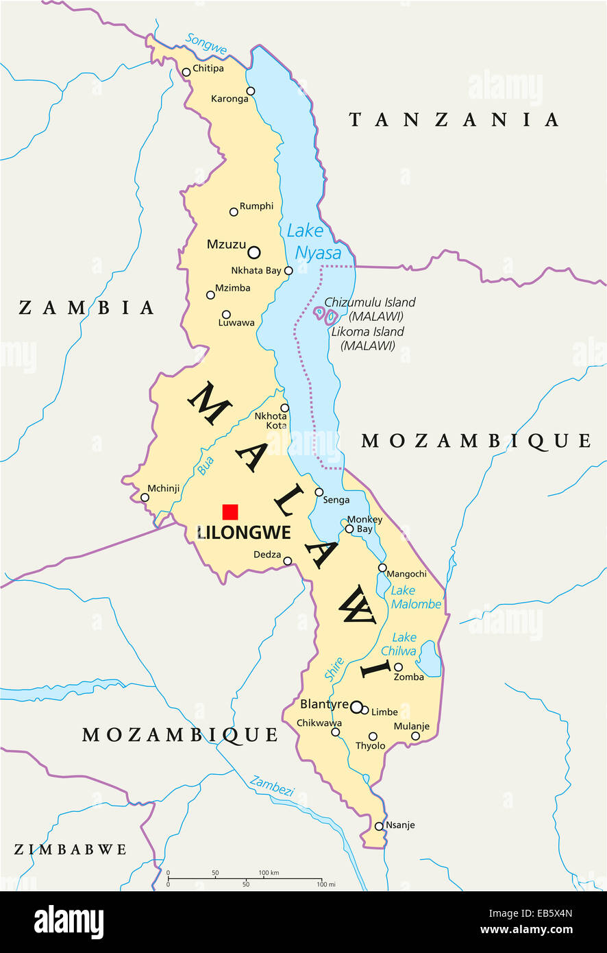 Malawi Political Map with capital Lilongwe national borders Stock