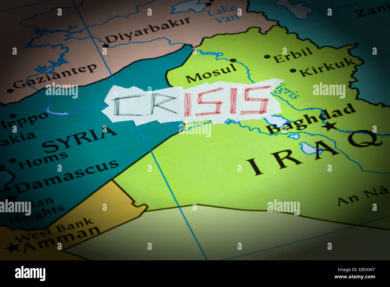 Conceptual representation of the crisis caused by the Islamic State - Stock Image
