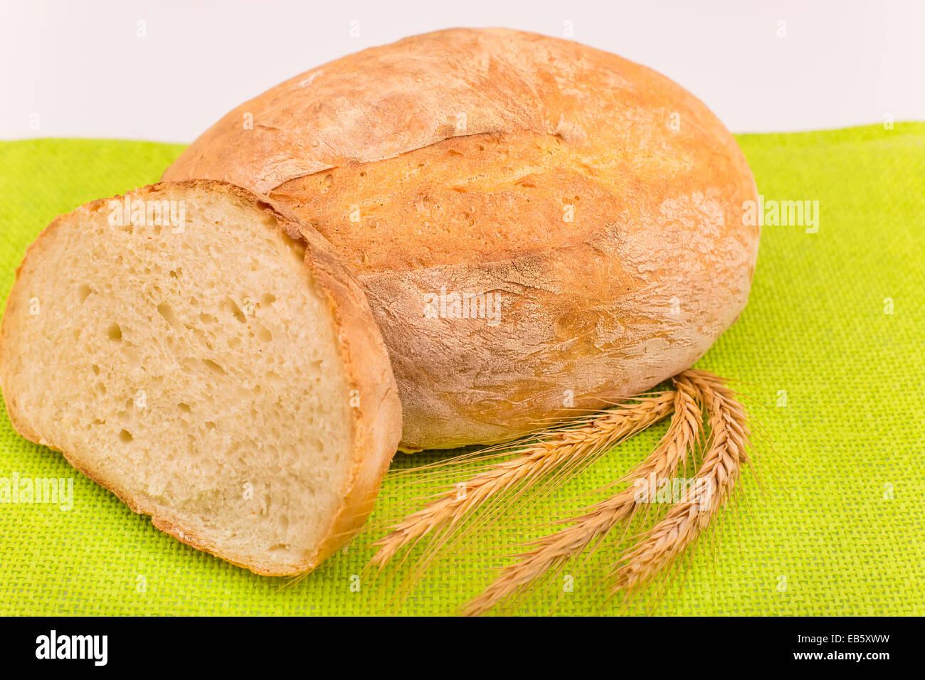 ears of corn wheat on a background Ukrainian bread loaves - Stock Image