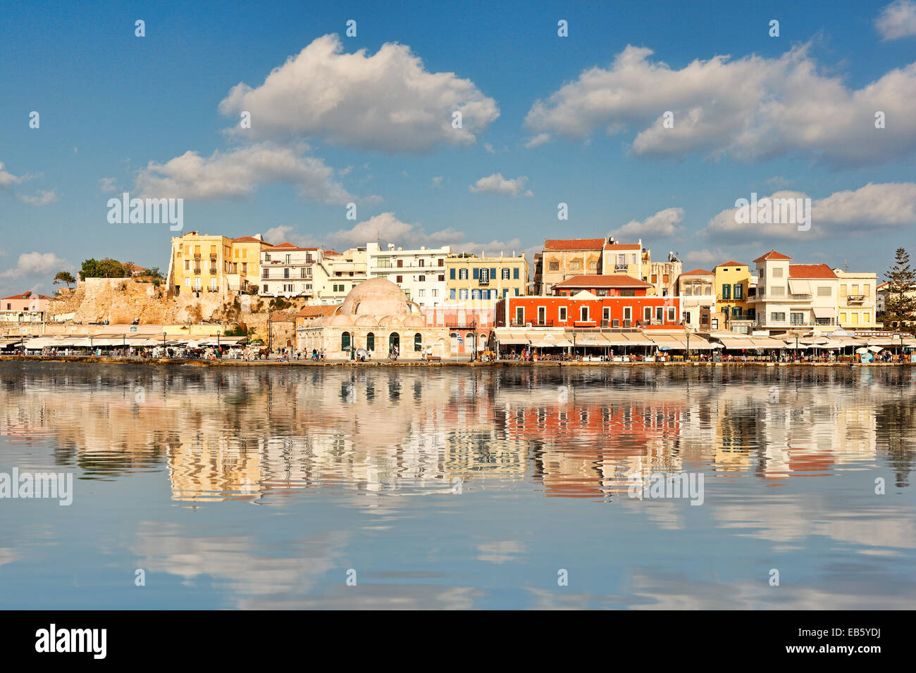Chania's Venetian Harbour with the magnificent architecture was built in the 14th century in Crete, Greece - Stock Image