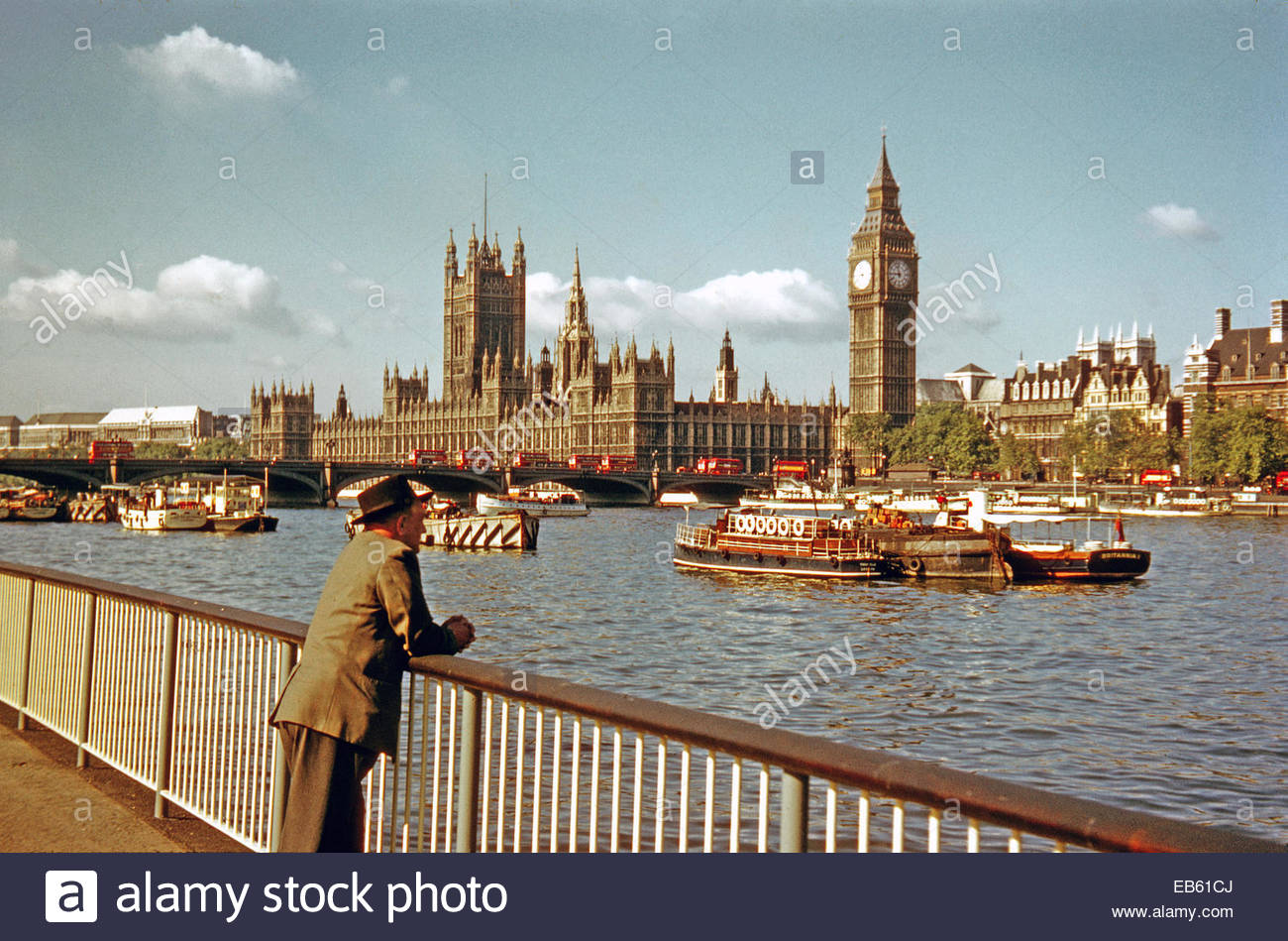 Man leans on railings at South Bank looking across River Thames towards Houses of Parliament 1950's - Stock Image