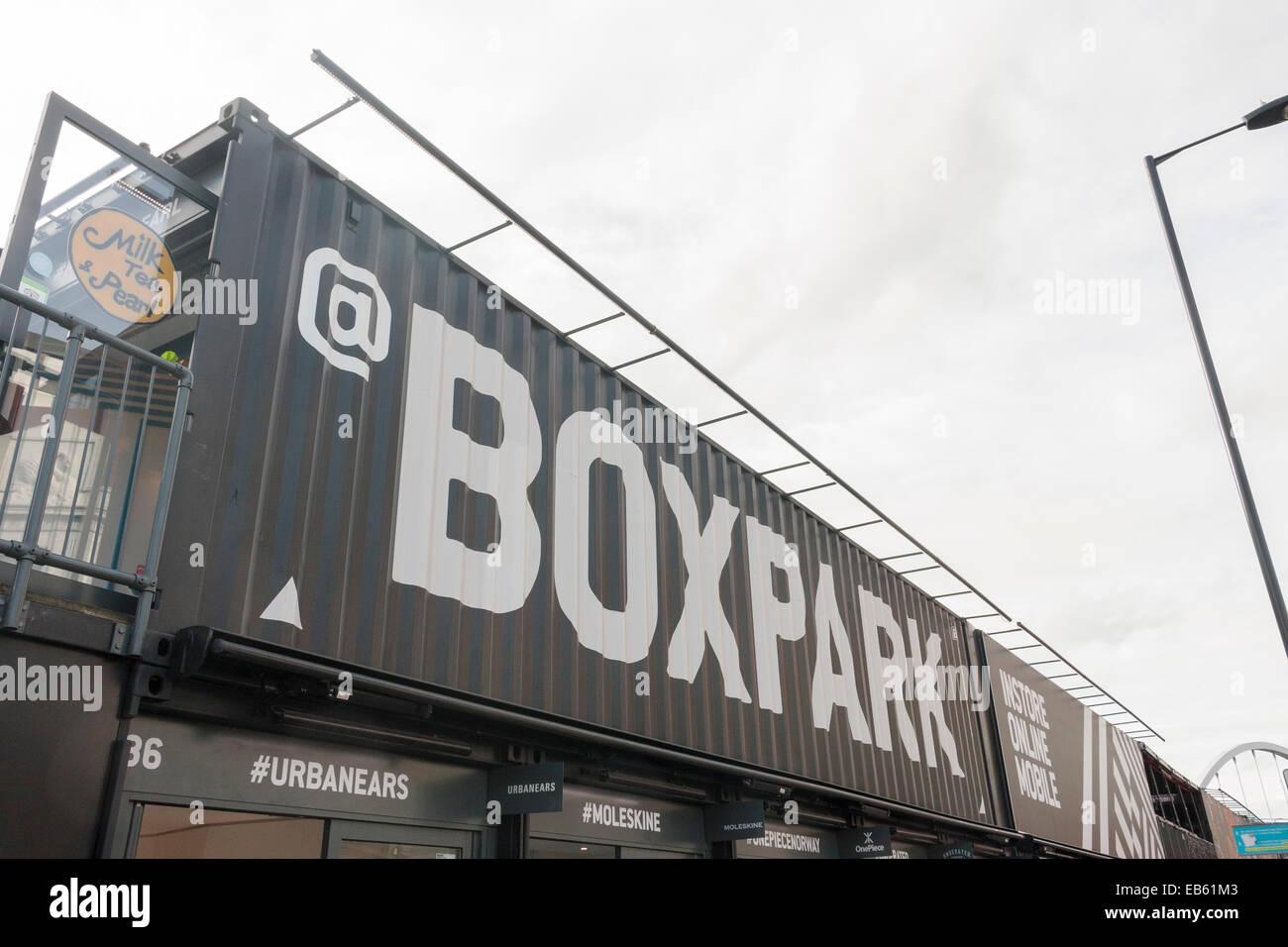Boxpark exterior sign, Boxpark, SHOREDITCH, LONDON, UK - Stock Image