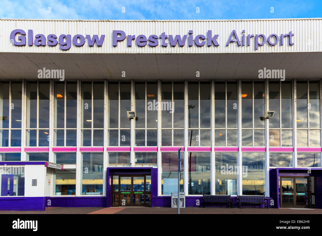 Frnt entrance to Glasgow Prestwick Airport, Prestwick, Ayrshire, Scotland, UK Stock Photo