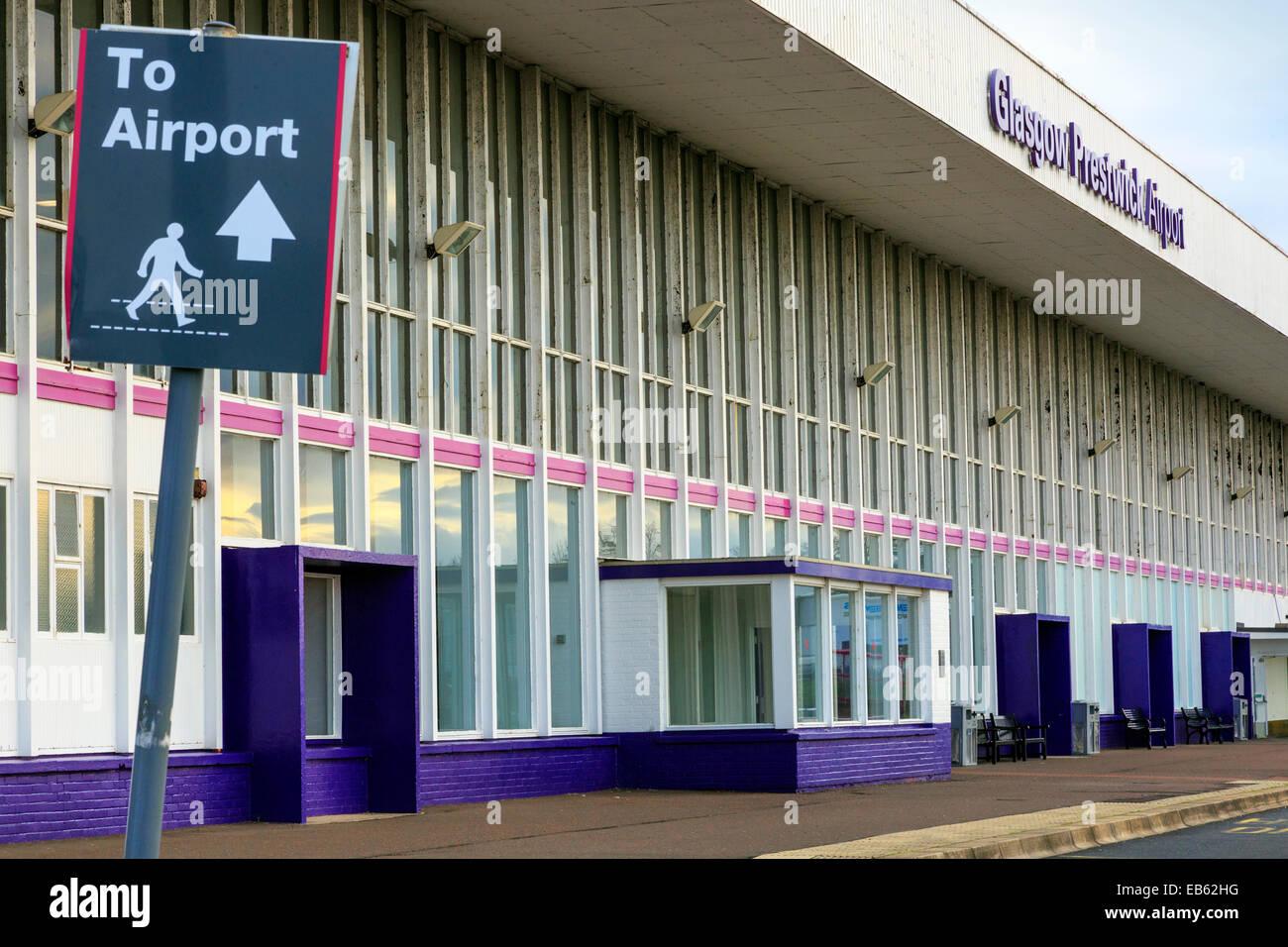 Frnt entrance to Glasgow Prestwick Airport, Prestwick, Ayrshire, Scotland, UK Stock Photo