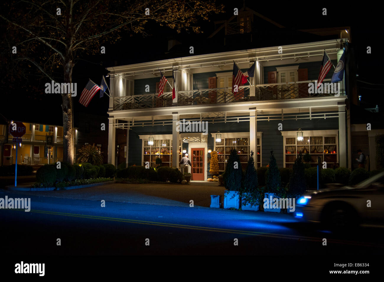 USA Virginia VA Washington Inn at Little Washington a Relais and Chateaux hotel property exterior at night - Stock Image