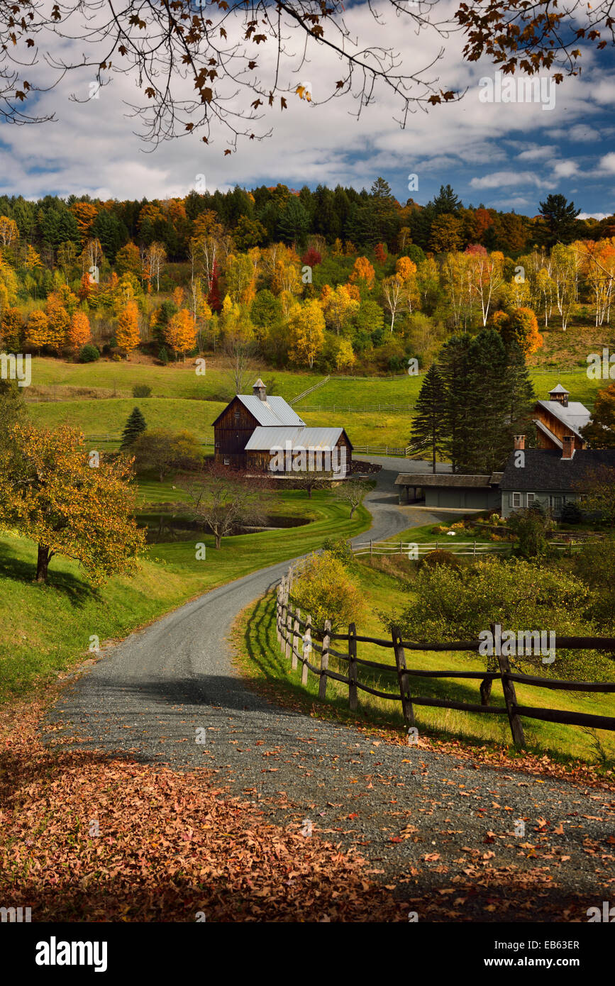 Driveway to Sleepy Hollow Farm on Cloudland Road Woodstock Vermont USA with trees in colorful Fall foliage in Autumn - Stock Image