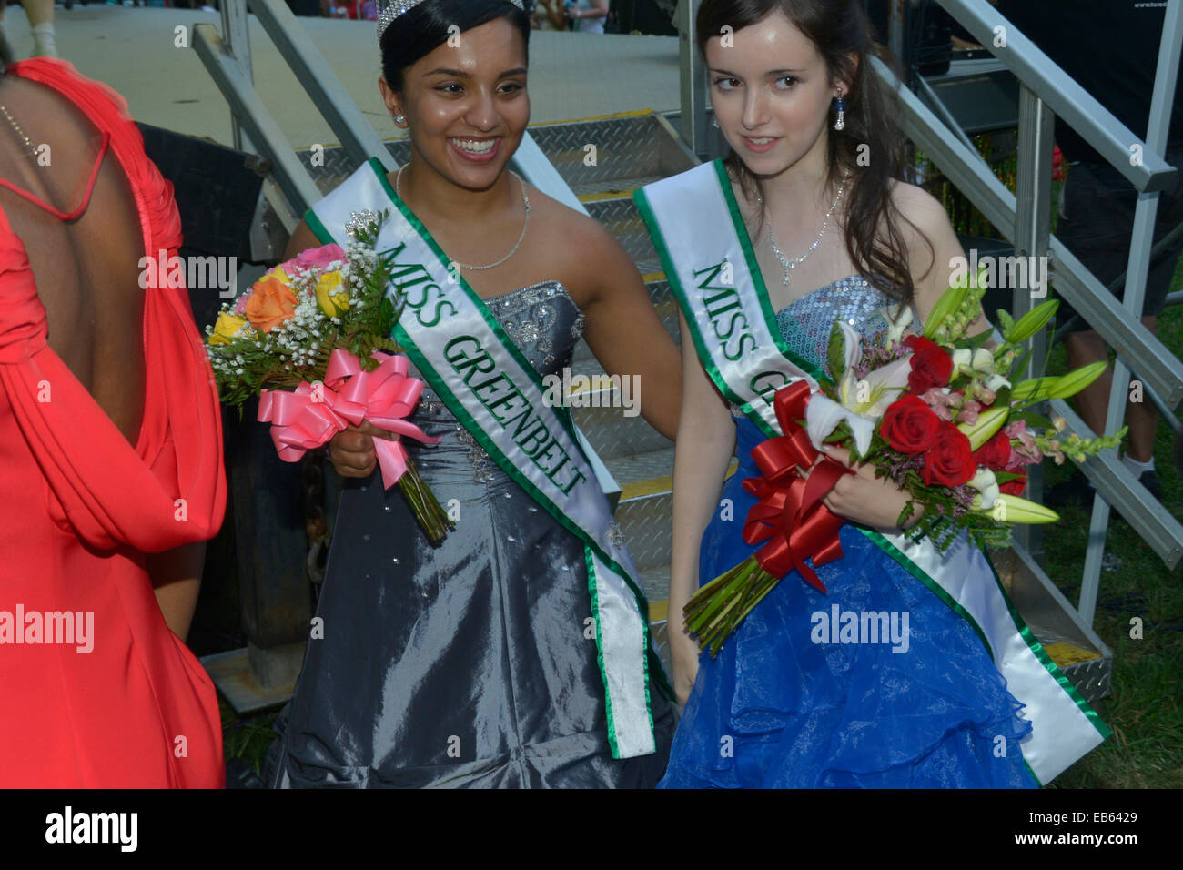 Two Miss Greenbelt winners in the beauty contest in Greenbelt, Maryland - Stock Image