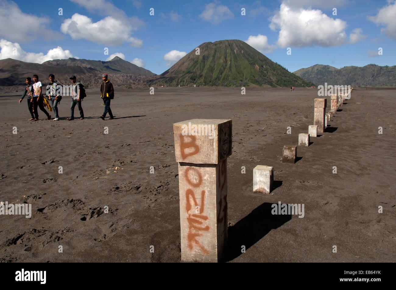 Vandalism in Mount Bromo, Indonesia - Stock Image