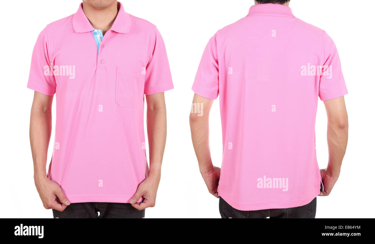 b5d378ade9cf60 blank polo shirt set (front, back) on man isolated on white background