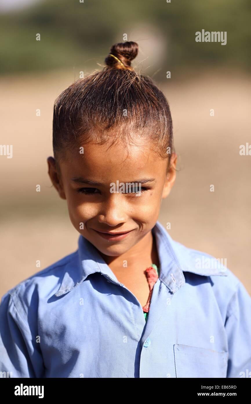Indian girl smiling Rajasthan India - Stock Image
