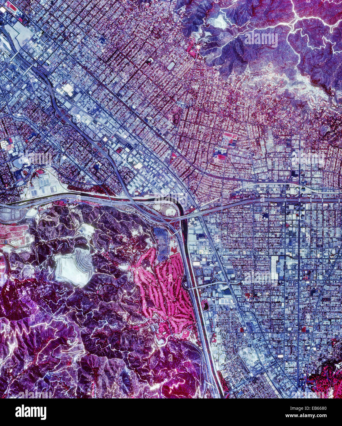 historical infrared aerial photograph of Burbank, California, 1989 - Stock Image