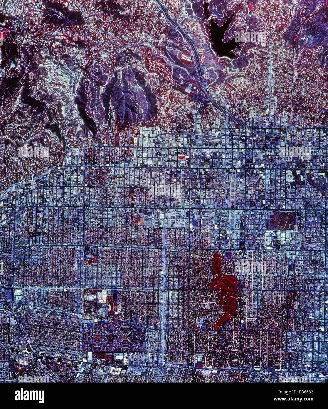 historical infrared aerial photograph of Hollywood, California, 1989 - Stock Image