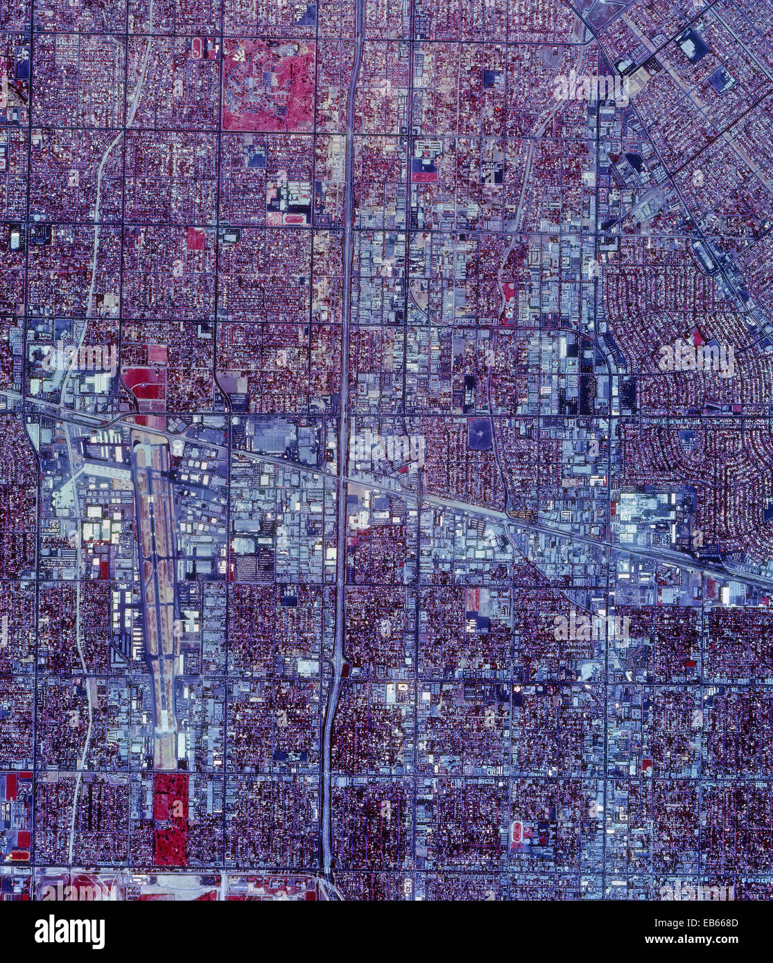 historical infrared aerial photograph of Van Nuys, California, 1989 - Stock Image