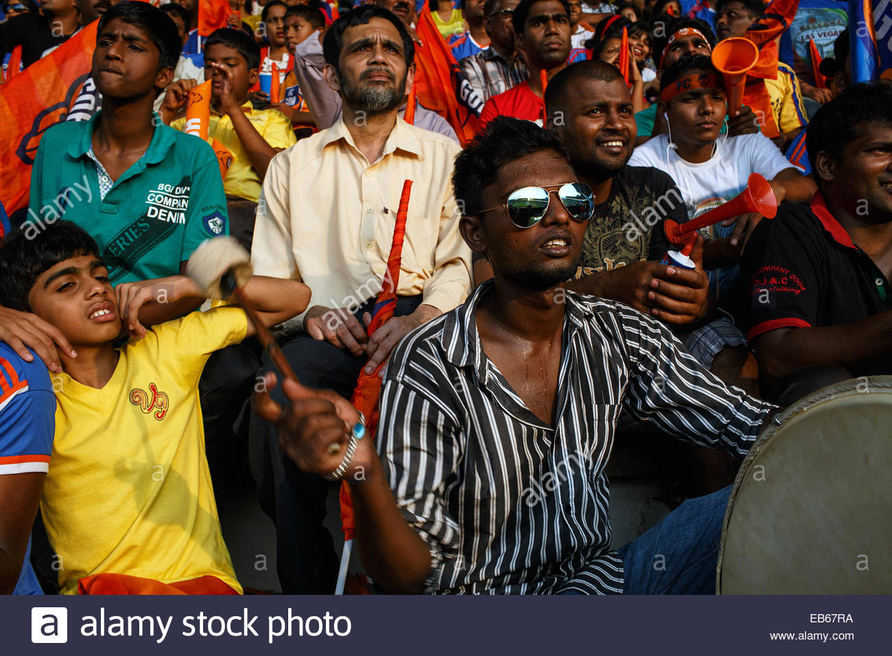 Football supporters watching Indian Super League FC Goa - Mumbai City FC match at the stadium in Margao Goa India. - Stock Image