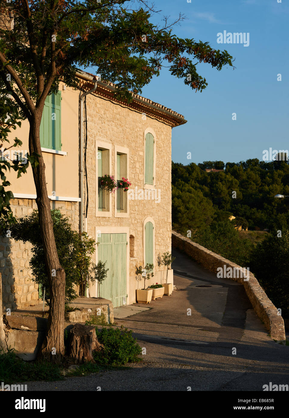 Typical French Provence Architecture Stone House In Grambois Village France