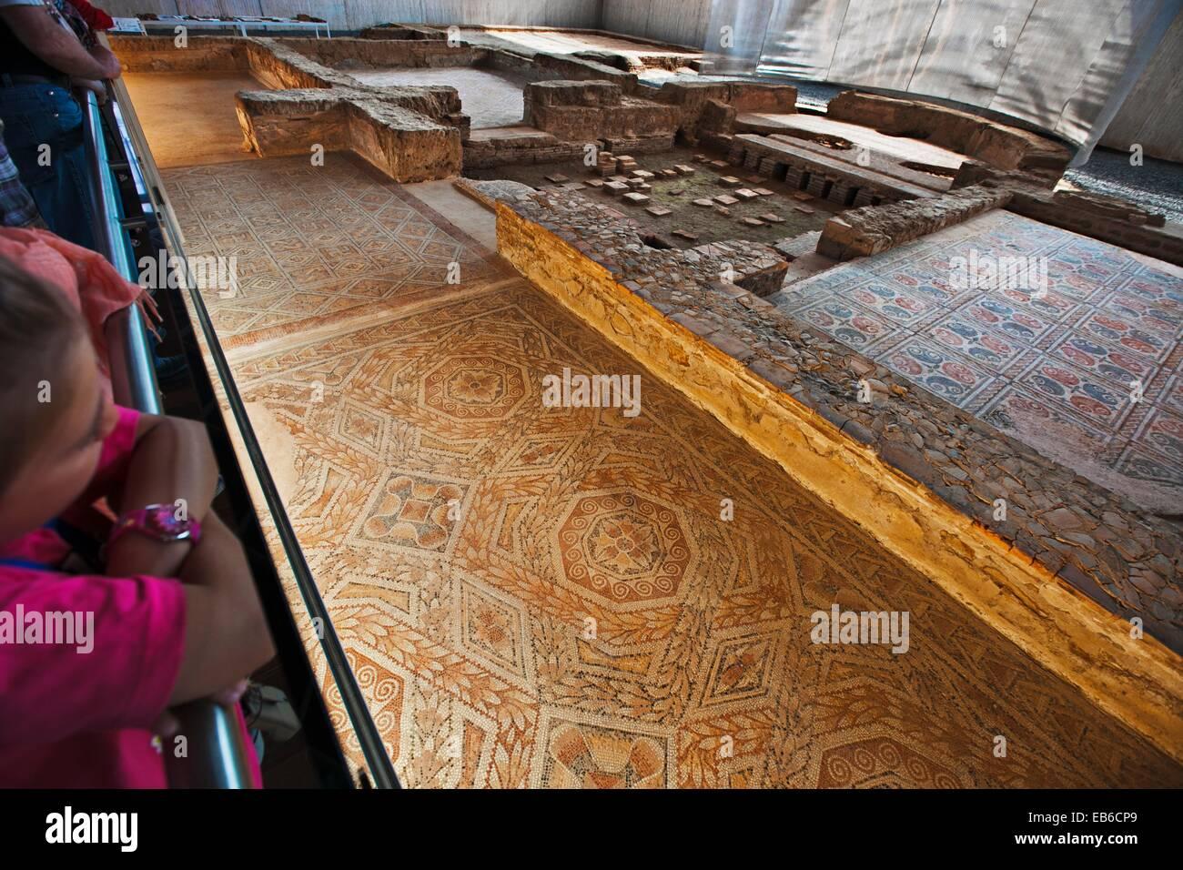 Roman Town of La Olmeda  IV century D C  Geometric roman mosaic  Pedrosa de la Vega  Palencia  Castilla y Leon  - Stock Image