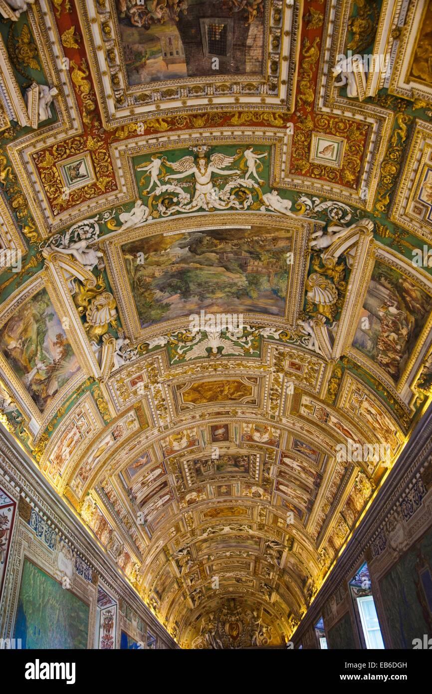 Geographic Chart Hall. Vatican Museum, Vatican City, Rome, Lazio, Italy - Stock Image
