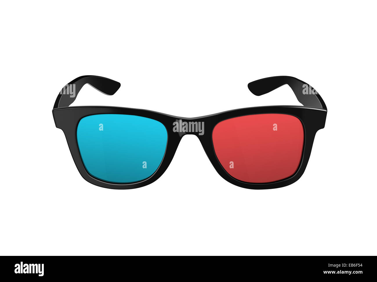 Black 3D glasses, for three dimensional movies or films, with plastic rims and red and blues lenses, both modern - Stock Image