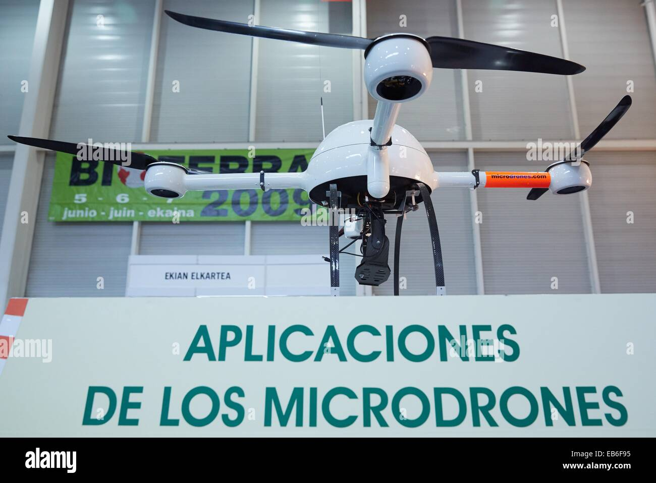 Microdrones Bioterra fair of organic products green building renewable energy and responsible consumption Ficoba - Stock Image
