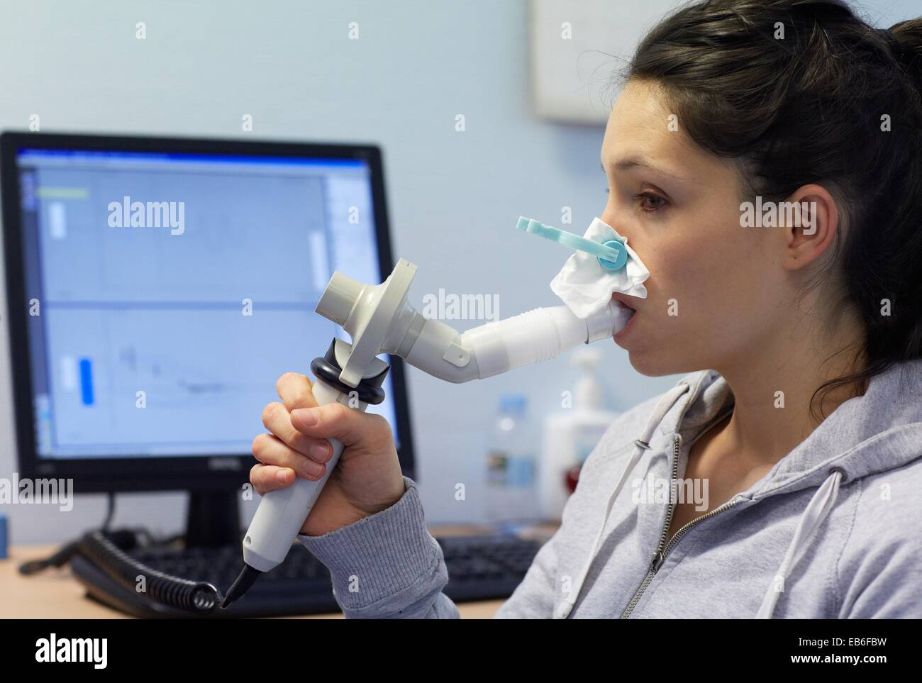 Spirometry, Pneumology, Hospital Donostia, San Sebastian, Gipuzkoa, Basque Country, Spain - Stock Image