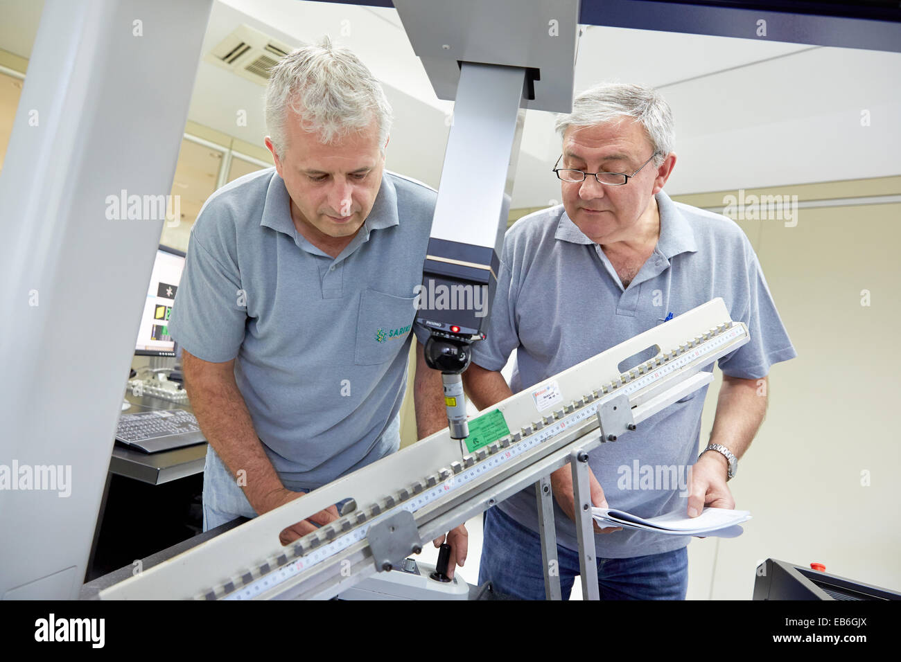The SAT team calibrating three-dimensional machine. Calibration of CMM. Coordinate Measuring Machine. Innovative - Stock Image