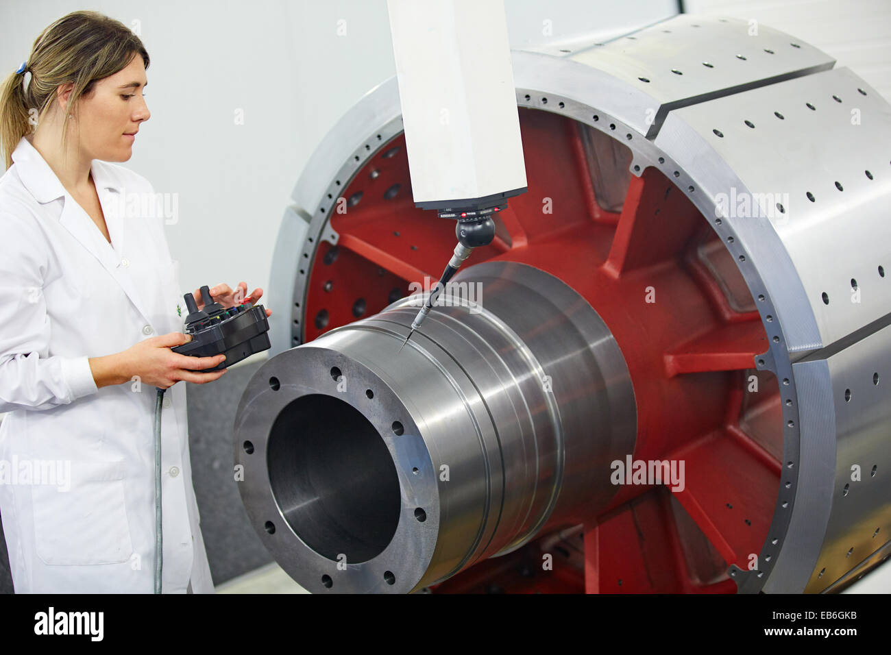 Technical measuring wind component in three-dimensional machine. CMM. Coordinate Measuring Machine. Innovative Metrology - Stock Image