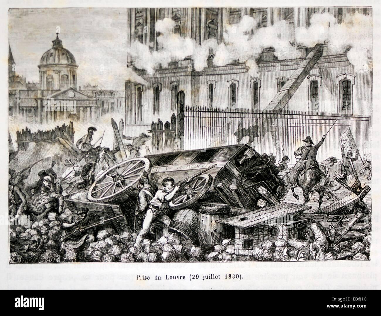 Prise du Louvre (29 July 1830), Paris, France - Stock Image