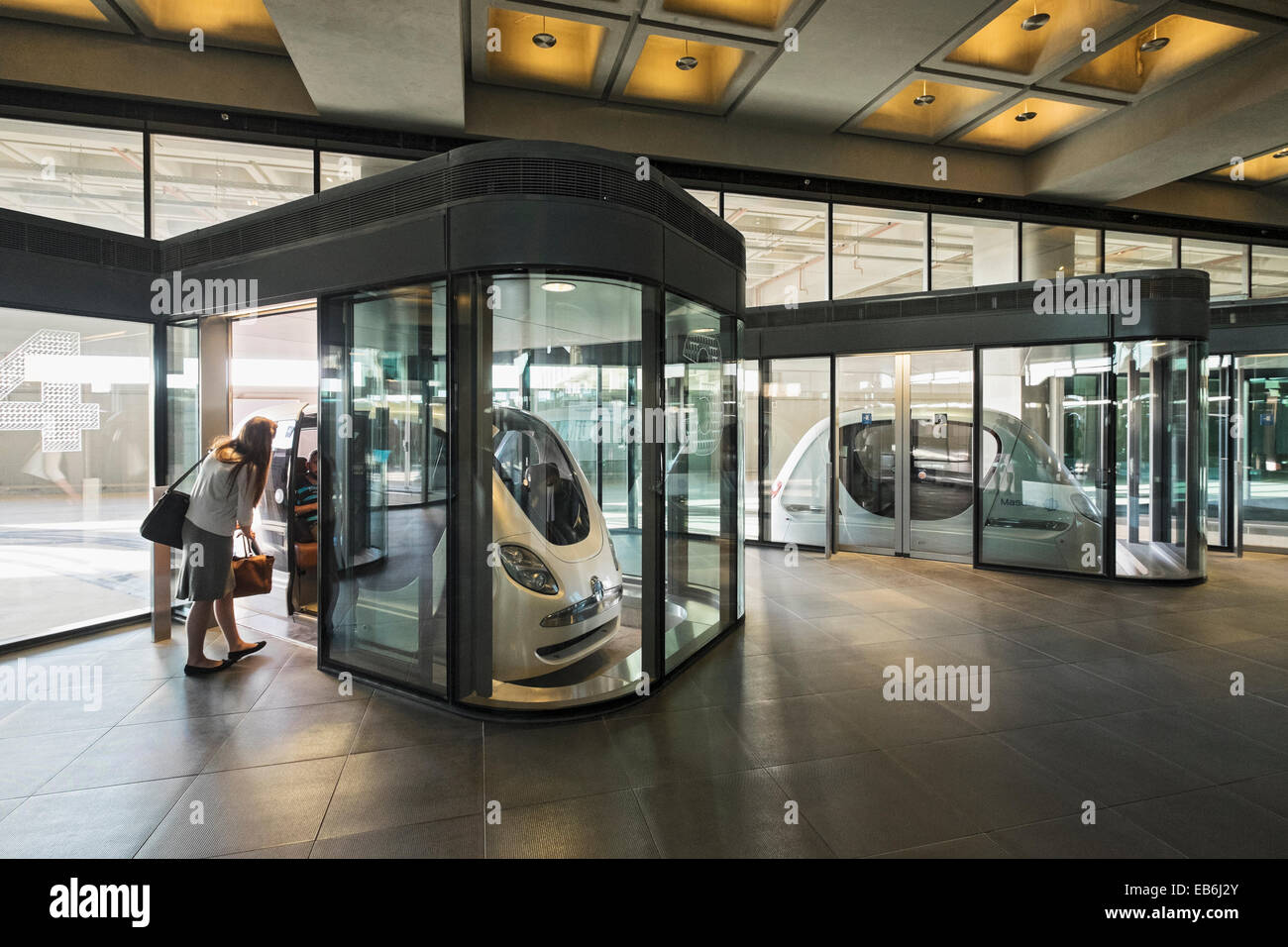 Personal Rapid Transport (PRT) cars at Institute of Science and Technology at Masdar City in Abu Dhabi United Arab - Stock Image