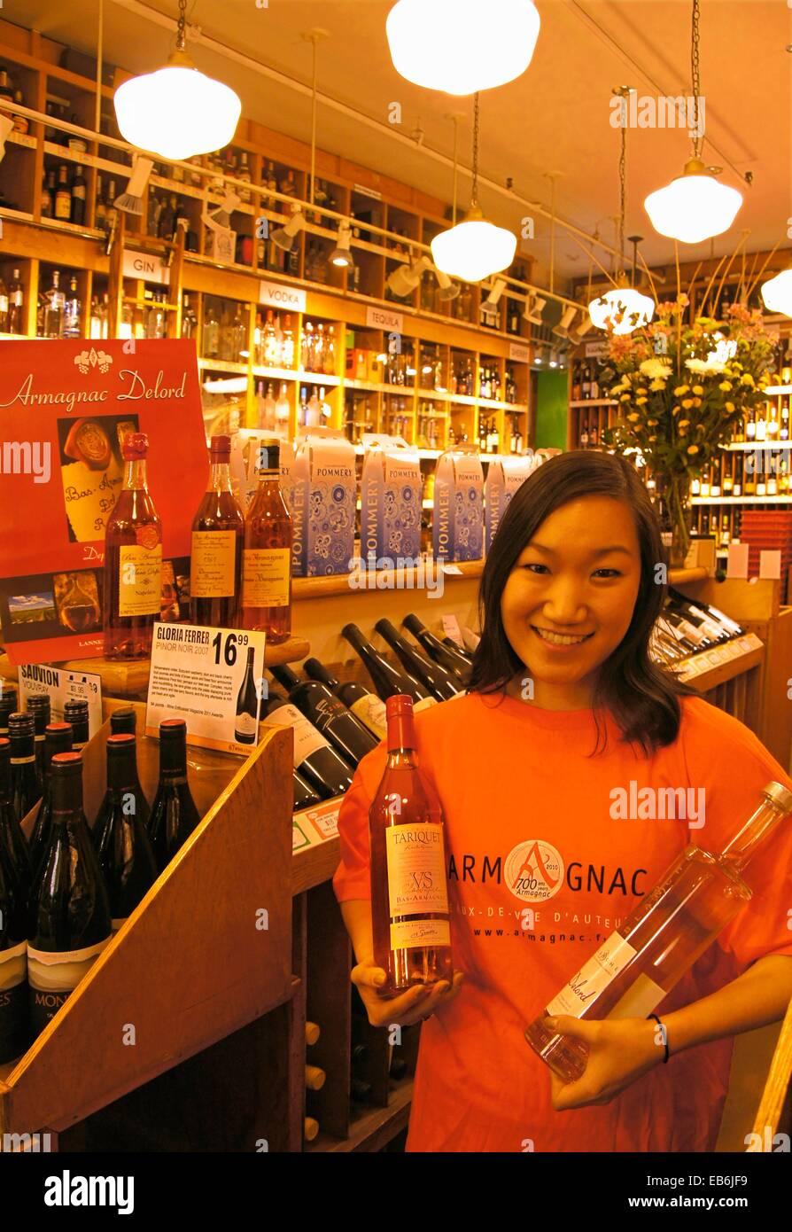 USA, New York, Samantha Weinberg presenting Armagnac at ´67 Wine´ Stock Photo