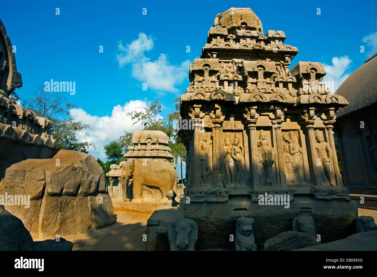 Richly carved monolithic Ratha, the Five Rathas  Mamallapuram  Tamilnadu, India. - Stock Image