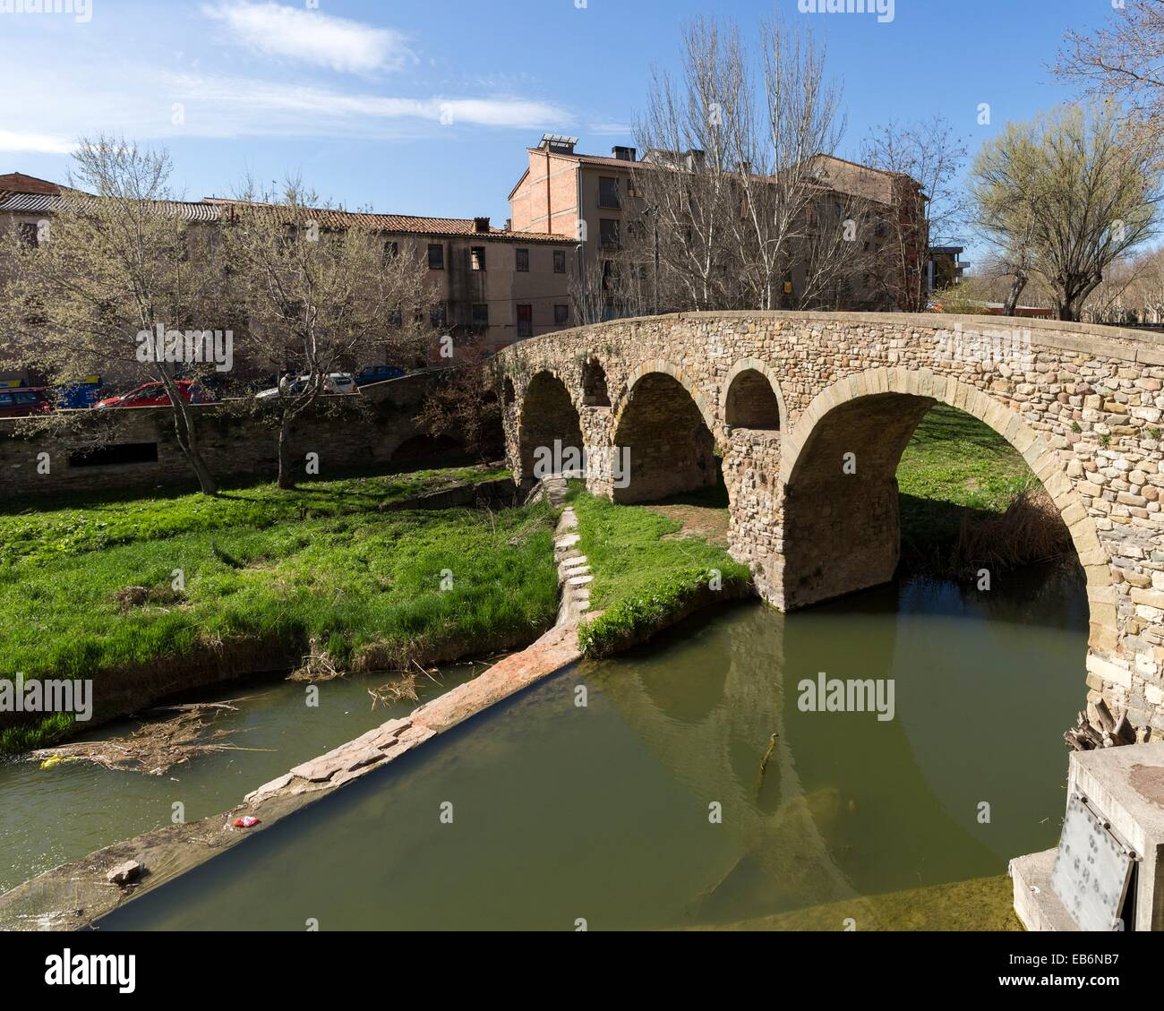 Vic, Old town and Roman bridge, Osona, Barcelona, Spain Stock Photo