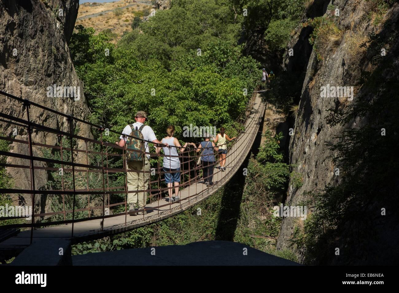 Suspension Bridge, Los Cahorros de Monachil, Monachil, Granada, Andalucia, province, Spain. Stock Photo