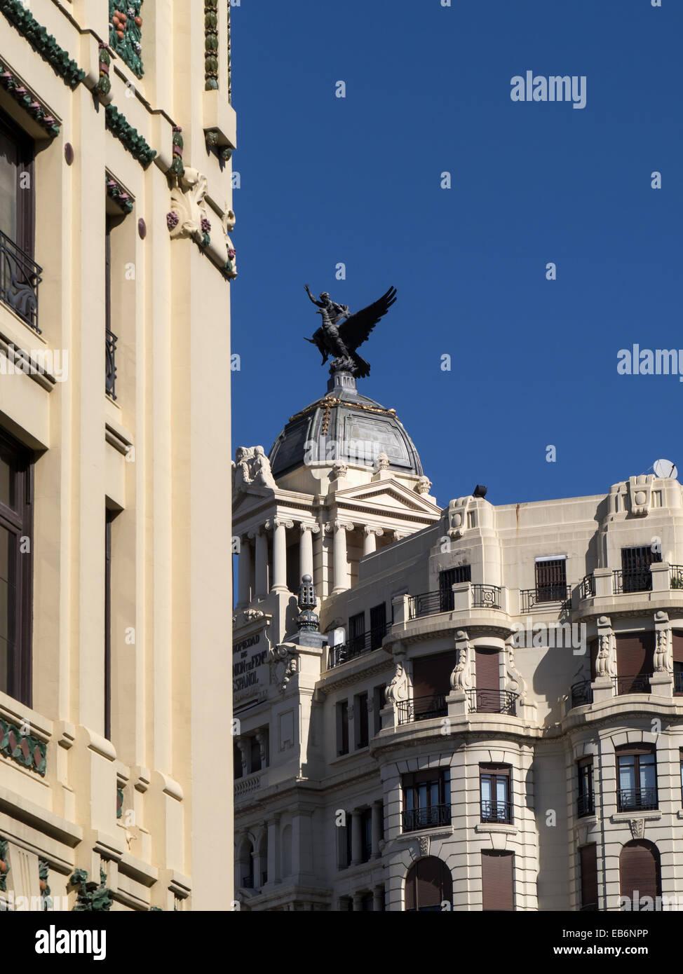 Valencia, Spain, La Union y El Fénix Español building 1933, by Enrique Viedma Vidal and RENFE train station. - Stock Image