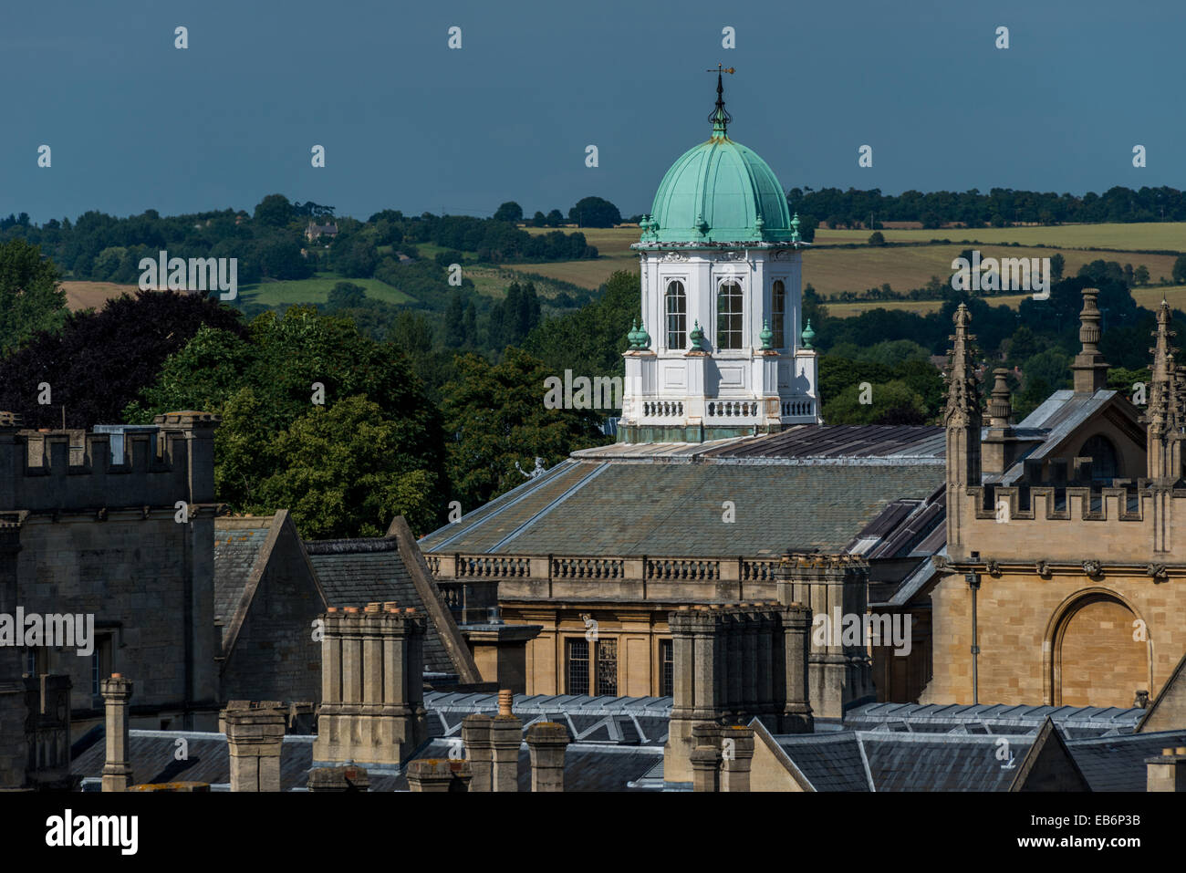 Sheldonian Theatre Cupola viewed from Carfax Tower Stock Photo