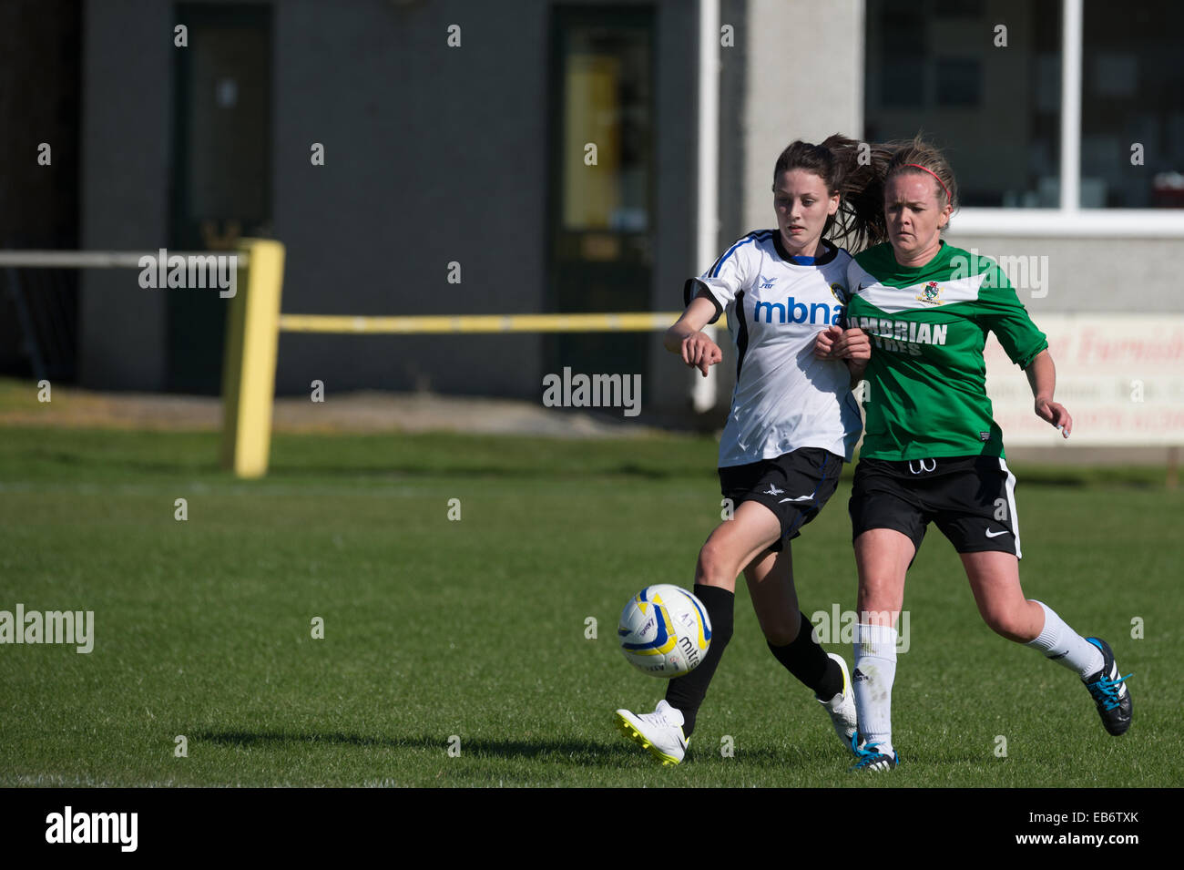 Going for the ball: Two young women girls playing football soccer, competing challenging for the football UK - Stock Image
