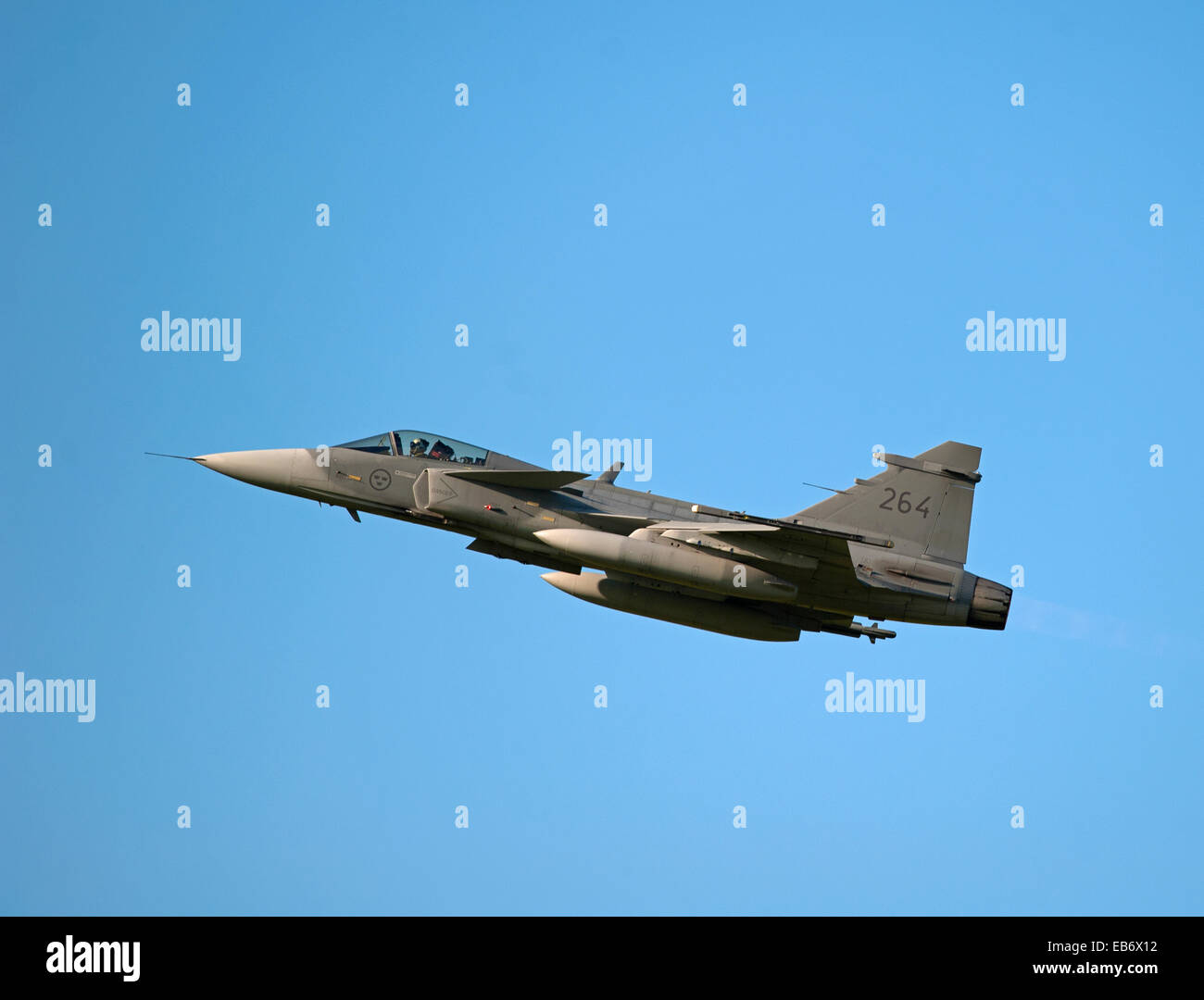 Swedish Air Force JAS 39D Gripens on exercise over RAF Lossiemouth Scotland.  SCO 9191. - Stock Image