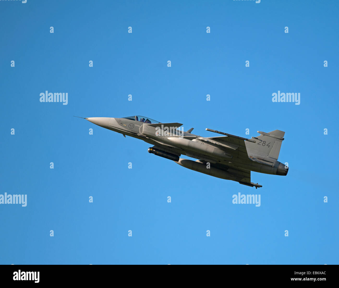 Swedish Air Force JAS 39D Gripen on exercise over RAF Lossiemouth Scotland.  SCO 9192. - Stock Image