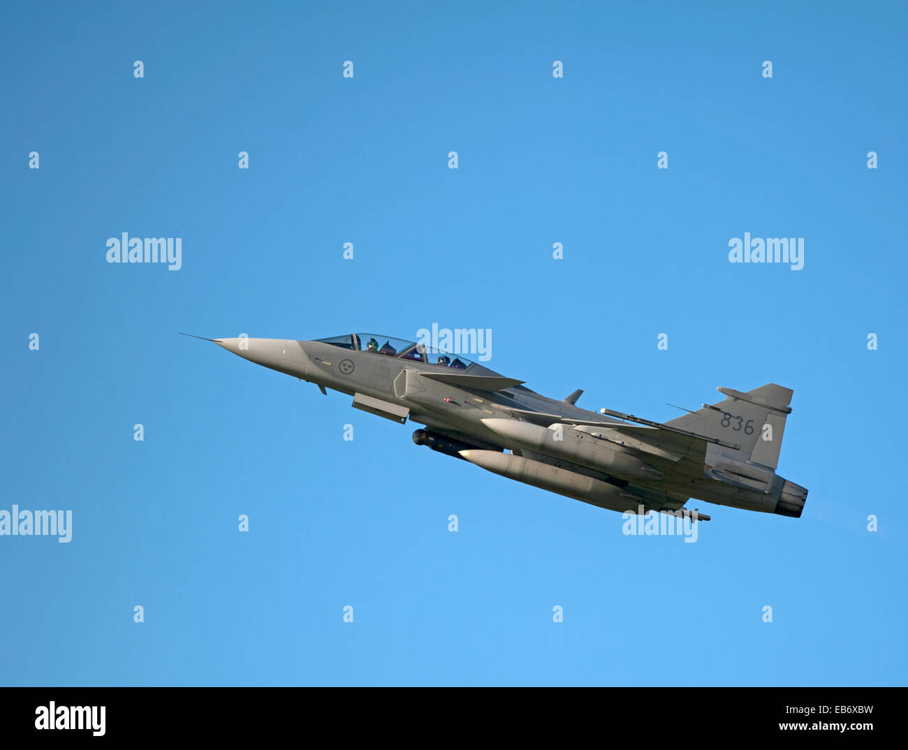 Swedish Air Force JAS 39D Gripen on exercise over RAF Lossiemouth Scotland.  SCO 9193. - Stock Image