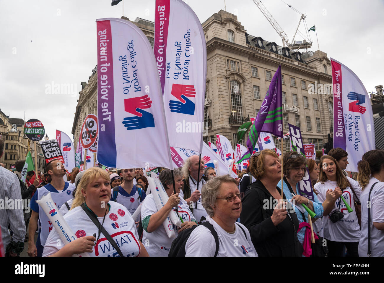Britain Needs a Pay Rise march, Royal College of Nursing, London, 18 October 2014, UK - Stock Image