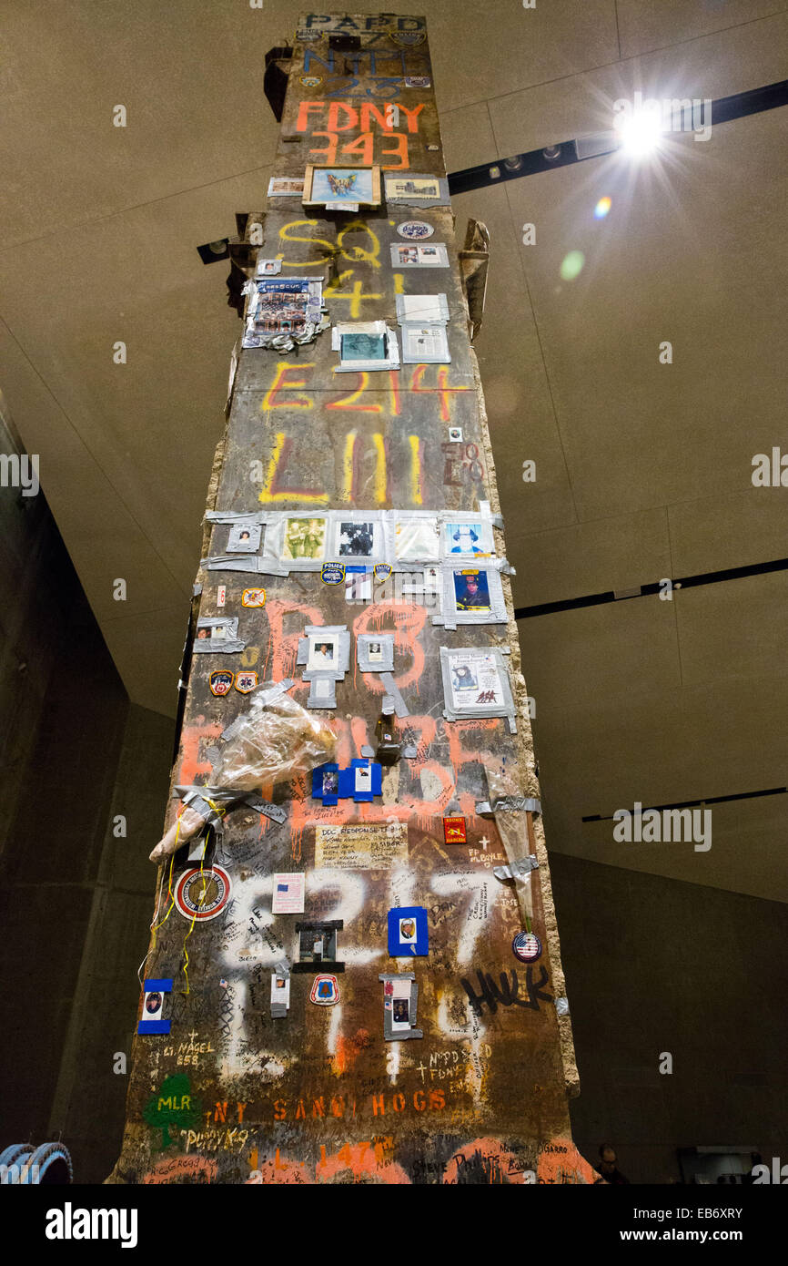 Last WTC column, Foundation Hall of the National September 11 Memorial and MuseumNational September 11 Memorial - Stock Image