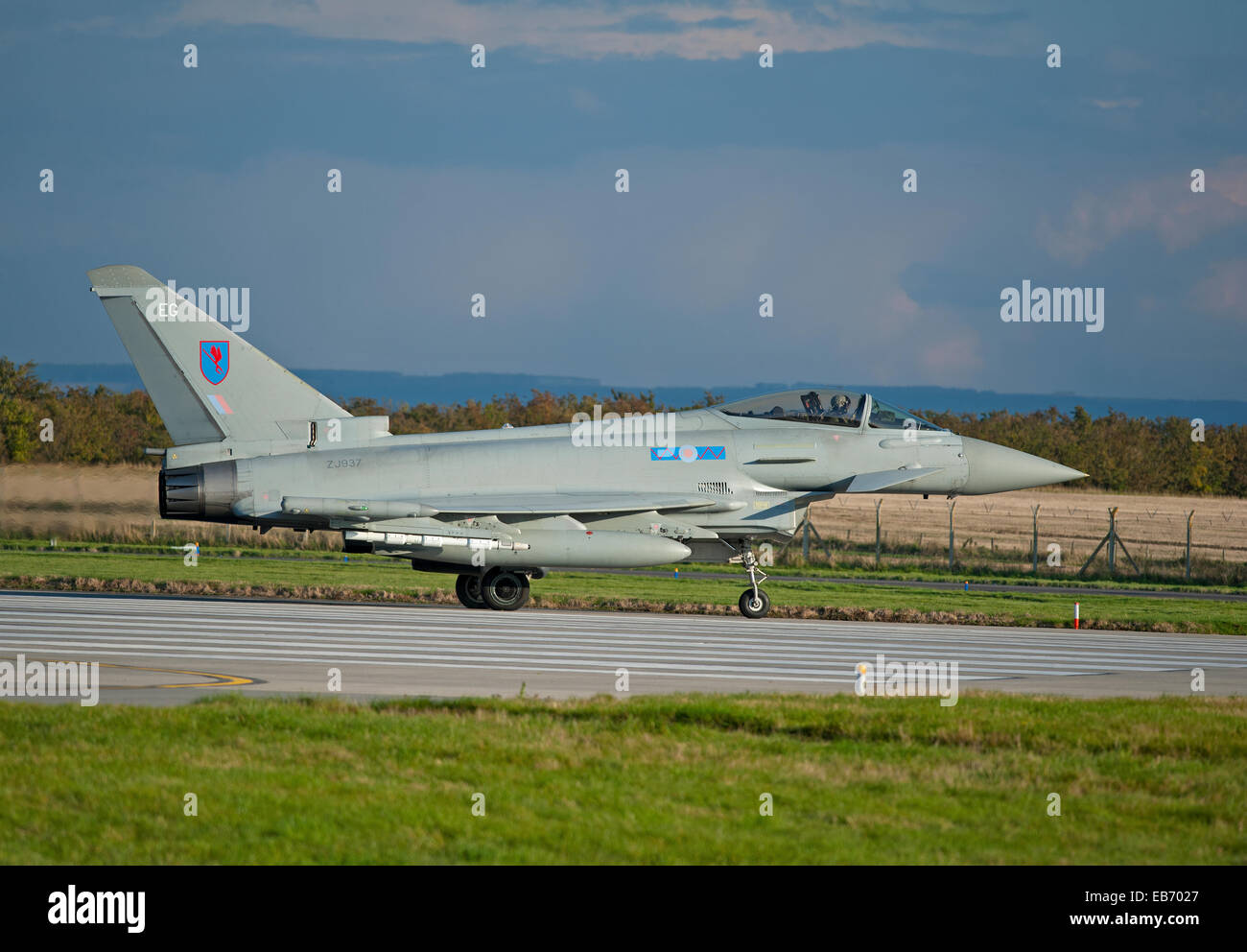 No 6 Sqn Eurofighter Typhoon EG ZJ937 jet fighter based at RAF Lossiemouth, Morayshire, Grampian Scotland.   SCO - Stock Image
